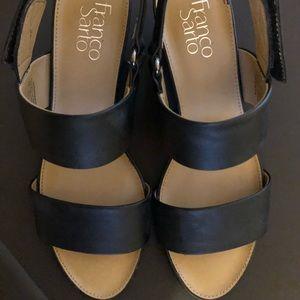 Franco Sarto black vegan leather sandal